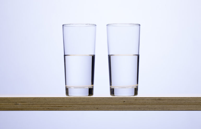 Two classes of water on a wood board